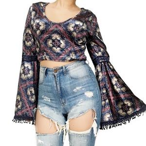 3/$25 Band of Gypsies Velvet Bell Sleeve Crop Top